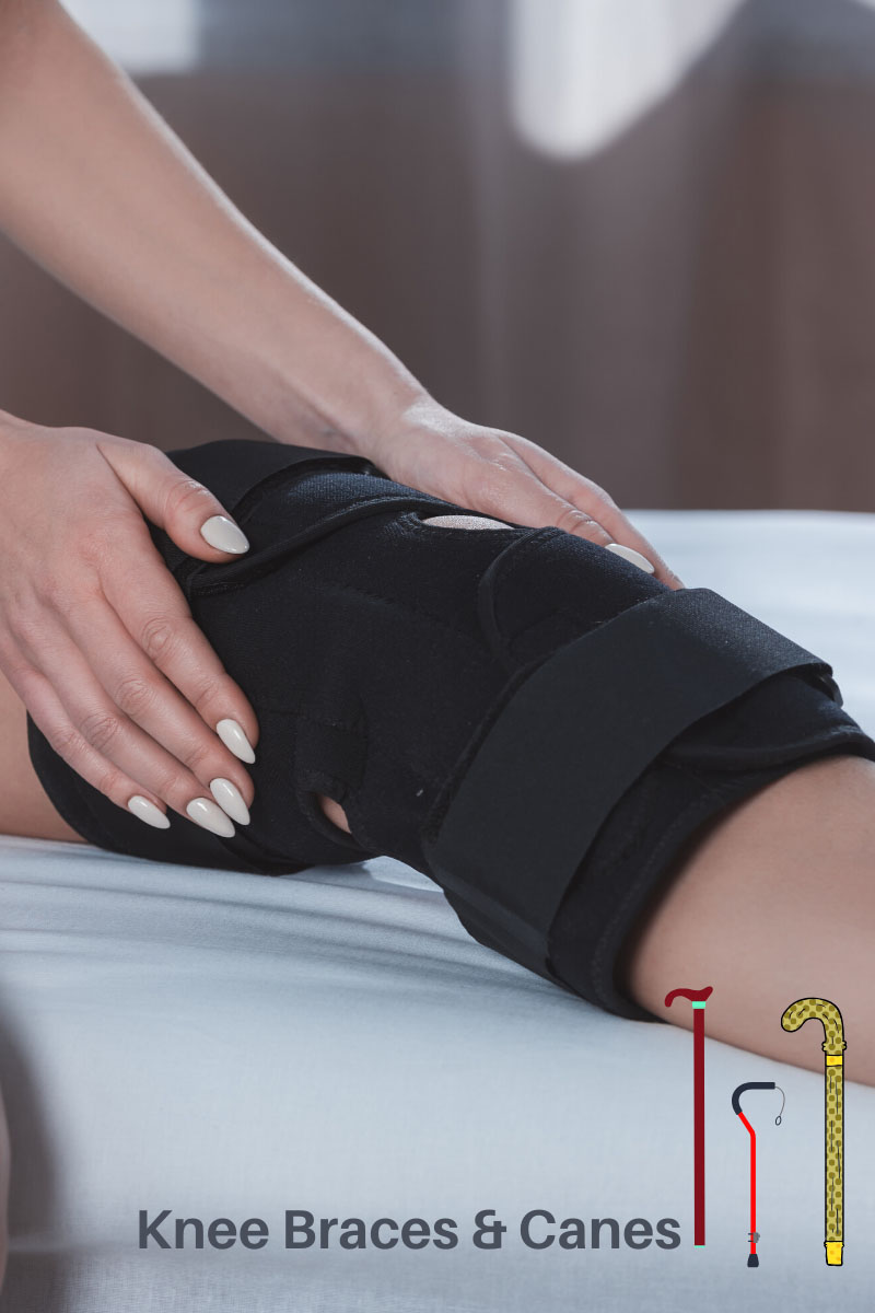 knee in a brace on a bed